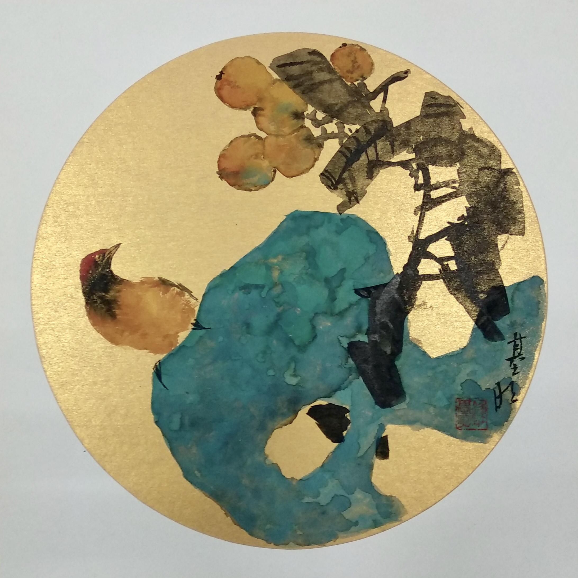 钟基明—卡纸《花鸟》