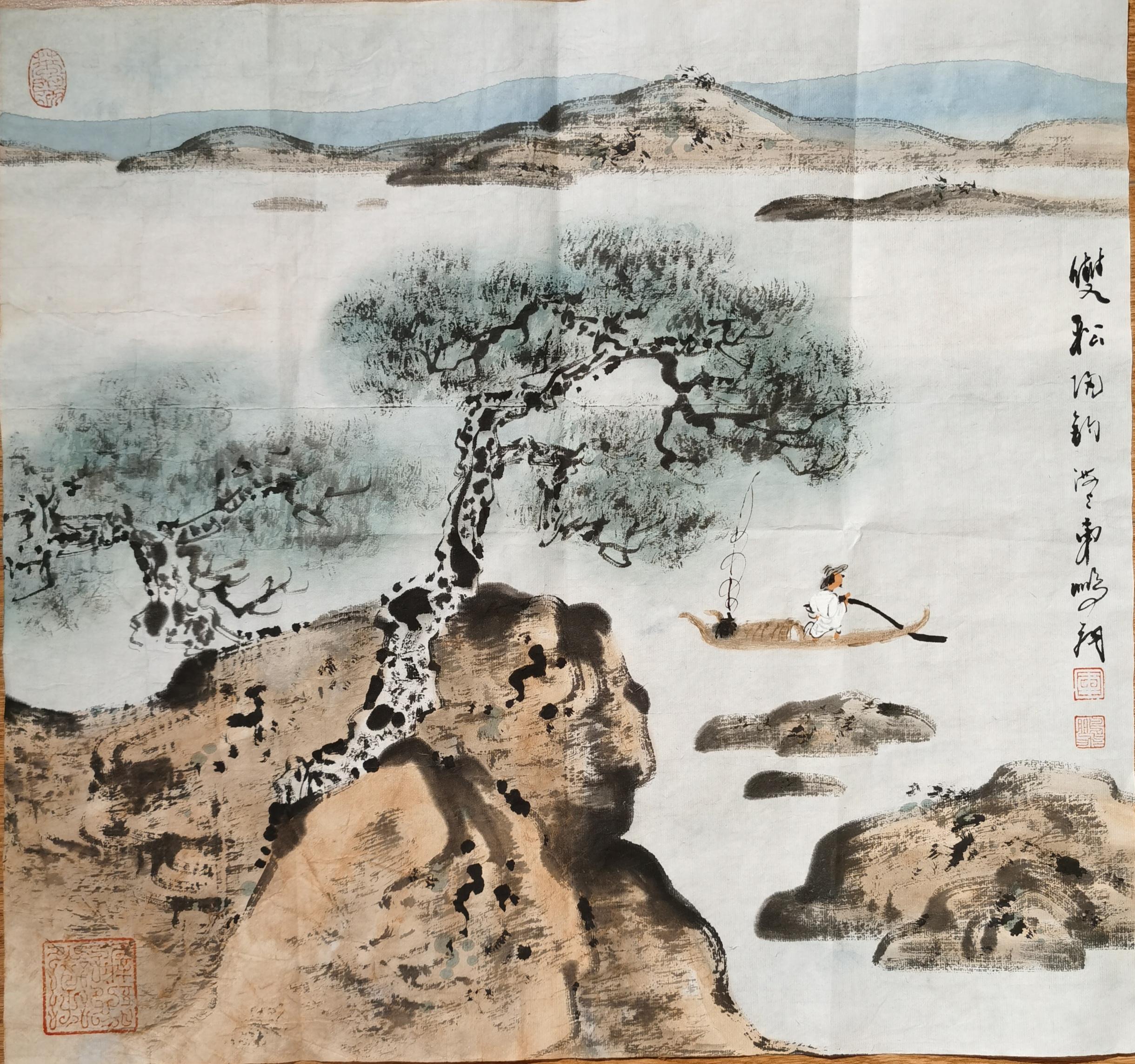 车鹏飞——国画《双松归钓》